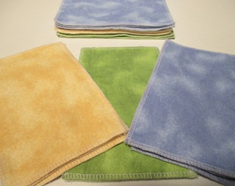 Flannel Family Cloth / Washable TP / Baby Wipes - 9 Double Ply - Blue, Yellow, Green Tie Dye - Dees Transformations