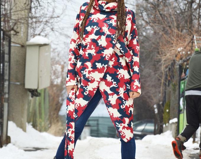 Camouflage Turtleneck Extravagant Top, Asymmetric Casual Maxi Dress, Neoprene Sleeve Plus Size Tunic by SSDfashion