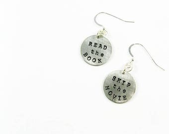 Read the Book Earrings - Word Jewelry for the Book Lover, Bookworm, Library Lover, Reader