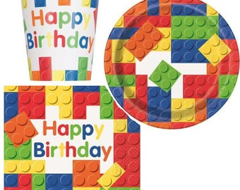 Lego Party, Lego Bricks, Lego Theme, lego plates, lego napkins, lego cups, Lego Birthday Party
