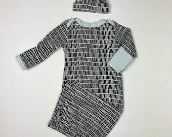 Baby boy coming home outfit, newborn boy take home outfit, newborn boy clothes, Boy sleeper in black/white, sleep sack