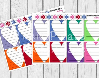Heart Full Box Planner Stickers Lined Notes Planner Stickers eclp PS454 Fits Erin Condren Vertical and Plum