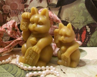 Lucky Cat Larger Size Beeswax Candle Feng Shui Lucky Cat Candles