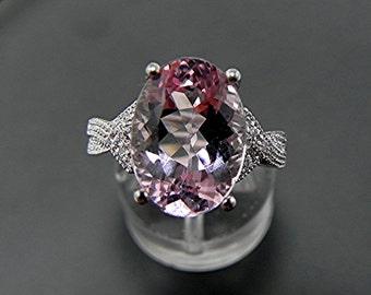 AAAA Brazilian Pink Morganite   14x10mm  5.45 Carats   14K white gold diamond infinity engagement Ring   1814