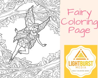 Fairy Coloring Page-Fantasy Coloring Page- Printable- Instant Download
