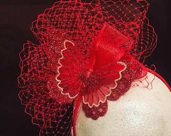 Red Fascinator / Headpiece with butterfly detail. Bespoke Fashion