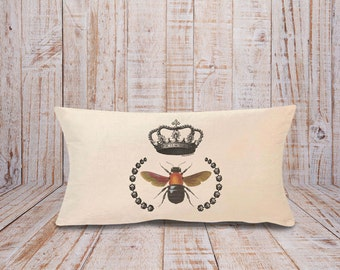 Bee pillow-bee with crown pillow-bee lumbar pillow cover-french pillow-rustic pillow-insect pillow-home decor-pillow-by NATURA PICTA-NPLP001