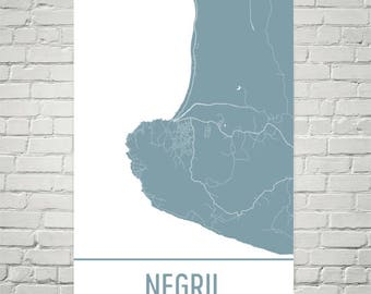 Negril Map, Negril Art, Negril Print, Negril Jamaica Poster, Negril Wall Art, Jamaican Gifts, Map of Jamaica, Jamaica Poster, Jamaican Art