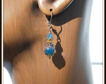 Blue Agate Earrings, Mosaic Agate Earrings, Mosaic Blue Agate Earrings, Agate Earrings