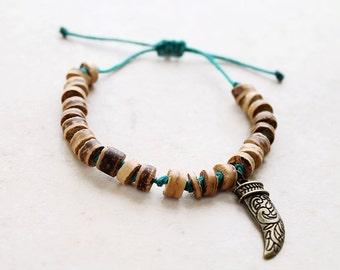 Horn Bracelet - Bronze with Wood Heishi Hemp Bracelet  - Hemp Jewelry