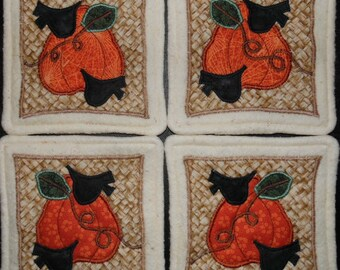 Primitive Whimsical COUNTRY FALL PUMPKINS with Crows Coasters Mug Mats Hot Pads Trivets