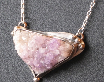 Sterling Silver and Amethyst Druzy Necklace
