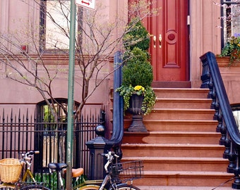 New York City Photography - West Village Photo - NYC Wall Art - Front Steps - Brownstones - Bicycles - Dog - Manhattan Photograph - Red Door