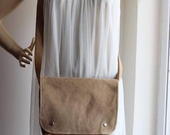 Small Messenger Bag /Latte  Corduroy / Adjustable Strap