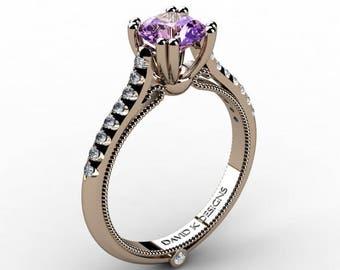 Classic Italian 14K Rose Gold 1.0 Ct Amethyst Diamond Engagement Ring R1130-14KRGDAM