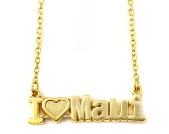 I Love Maui nameplate Necklace in Sterling Silver, I Love Maui Pendant, Maui Nameplate Necklace, Maui Charm Pendant