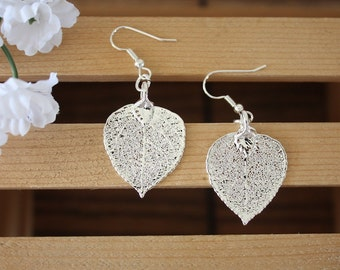 Silver Aspen Leaf Earrings, Real Leaf Earrings, Aspen Leaf, Sterling Silver Earrings, LESM152