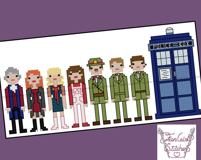 Doctor Who inspired Third Doctor and companions cross stitch pattern - PDF pattern - INSTANT DOWNLOAD