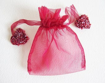 Pouch bag with DrawString organza and hearts with beads - Red - 10.5 cm x 9 cm - for packaging gifts, jewelry, soaps, lavender