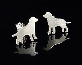 Labrador Retriever Sterling Silver Silhouette Earrings