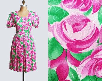 Vintage 80s SILK Midi DRESS / 1980s Rose FLORAL Print High Waisted Puff Sleeves Dress Pink Green, Medium m