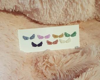 Magical Girl Wing Earrings (for Pierced Ears) - Resin Earrings, Wing Earrings, Glitter Earrings, Magical Girl