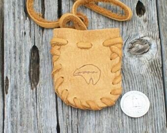 Bear totem medicine bag ,  Leather medicine bag with bear totem ,  Leather neck pouch , Necklace bag