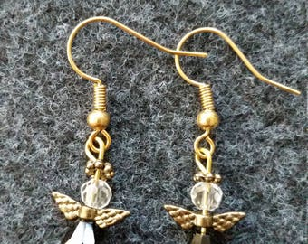 Black angel earrings