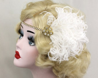 1920s Flapper Gold Headband - Ivory Feather Fascinator - Great Gatsby Headpiece - Wedding Hair Accessory - Crystal Head Band - Dance Costume