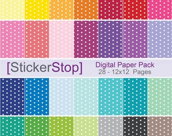 Polka Dot Pattern Digital Paper Set in 28 Rainbow Colors - Instant download PNG files - 12 x 12 paper