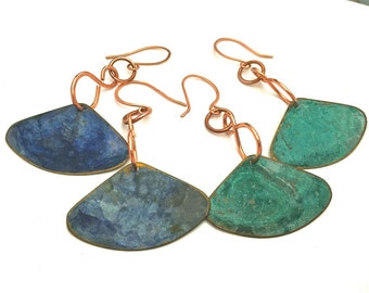 Metal copper disc earrings - light weight long dangle - 2 different colors available - 1 pair - you choose - turquoise or dark blue