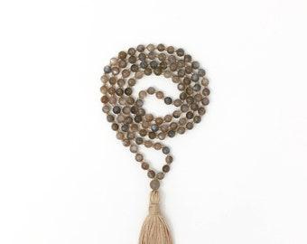 Dark Sunstone Mala * Hand knotted * 108 meditation Mala beads