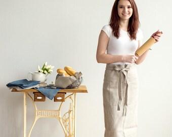 Long Grey Linen Chef APRON