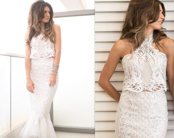 Mermaid Wedding Dress Lace, 2 Piece Wedding Dress, Lace wedding dress, unique wedding dress, Two Piece Wedding Dress, short wedding dress