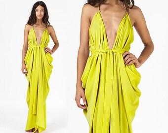 Chartreuse Dress, Citron Dress, Prom Dress, Lime Green Dress, Grecian Dress, Convertible Dress
