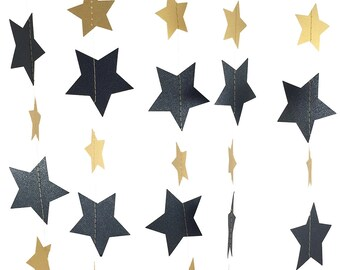 Black and Gold Star Garland - Black and Gold Decor, Black and Gold Party Decor, Black Garland, Black Party Decorations - GS031-2-18