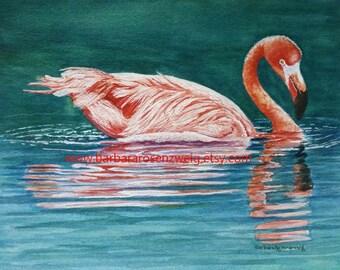 Flamingo Print, Flamingo Painting, Flamingo Beach Decor, Coastal Art, Tropical Flamingo Watercolor, Flamingo Wall Art, Bird Wildlife Art
