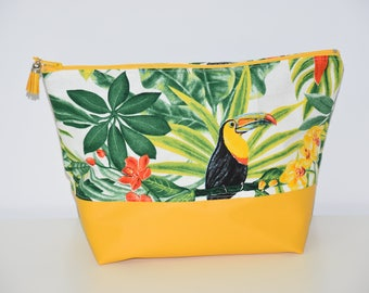 Toiletry bag - lined - faux leather / cotton fabric - pattern * JUNGLE * - multicolored tones - gift idea / 00594