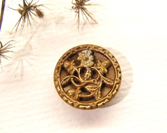 """Antique Metal Button, FLOWER, Botanical, 9/16"""", ANIMAL Charity Donation"""
