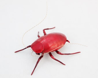 2 1/2 inch Red Roach Copper Metal Wall Sculpture