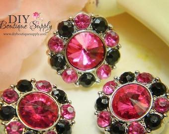 21 mm - Acrylic  Rhinestone Buttons Pink & Black -  Rhinestone Embellishments Acrylic Flower centers Headband Supplies 5 pcs 206035