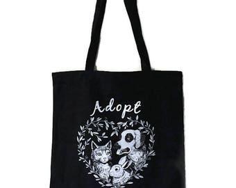 Adopt Don't Shop Tote Bag - Cotton - Vegan - Ethical