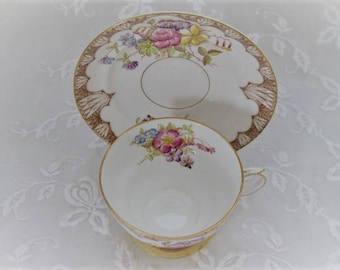 Rosina Fine Bone China, Charming Vintage Teacup and Saucer Set, Multifloral with Detail Trim, Made in England, ECS