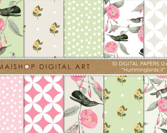 Seamless Digital Paper 'Hummingbirds II' Scrapbooking Papers of Birds, Flowers, Polka Dots... for Decoupage, Invitations, Crafts, Cards...