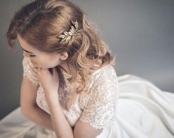 Gold leaf hair pins - Bridal hair pins for brides and bridesmaids