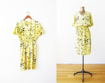 80s dress - abstract squiggle dress - flutter sleeve dress - yellow sundress - 80s clothing - polka dot dress - vintage yellow dress small
