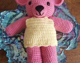 Amigurumi pink teddy bear