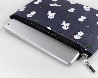 iPad mini case, iPad sleeve, Kindle sleeve, Bichon Frise print, Kindle Paperwhite, tablet case, iPad case, iPad mini sleeve, mini4, gray