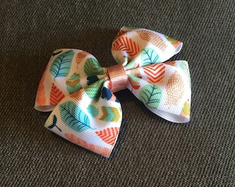Feather Print Hair Bow