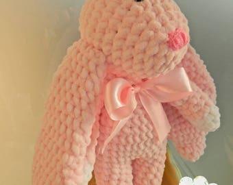 Crocheted bunny Pink bunny rabbit Stuffed animals toy Bunny long ears Plush bunny Baby shower birthday gift Fluffy soft bunny knitted doll